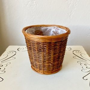 Vintage wicker basket planter